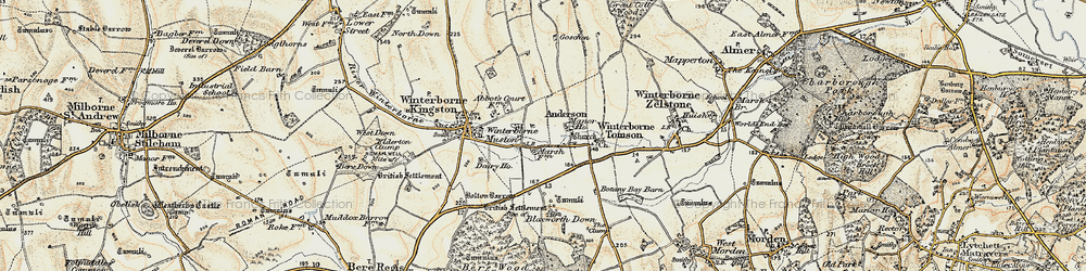Old map of Winterborne Muston in 1897-1909