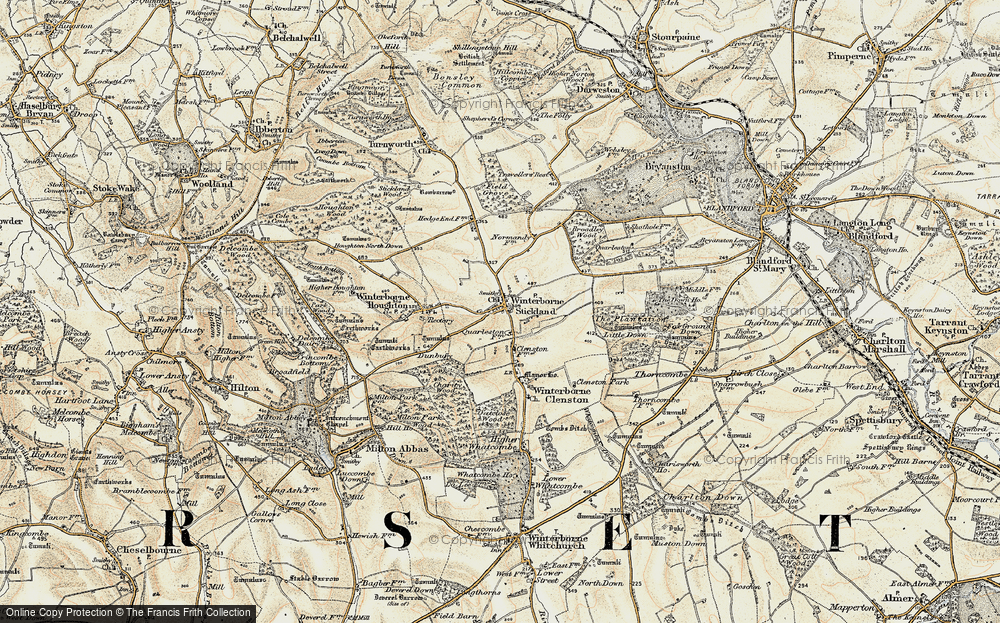 Old Map of Winterborne Stickland, 1897-1909 in 1897-1909
