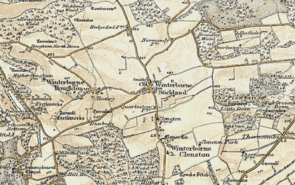 Old map of Winterborne Stickland in 1897-1909