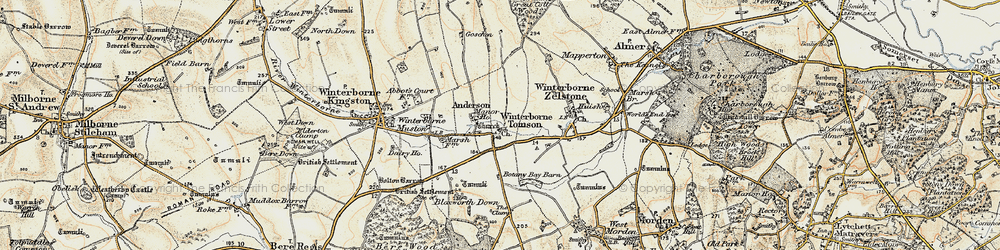 Old map of Winterborne Tomson in 1897-1909