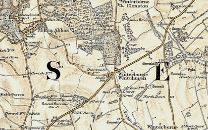 Old map of Winterborne Whitechurch in 1897-1909