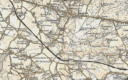 Old map of Winterbourne in 1897-1898