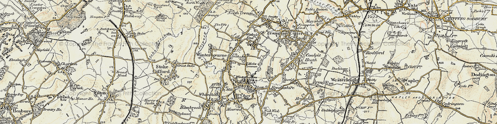 Old map of Winterbourne in 1899