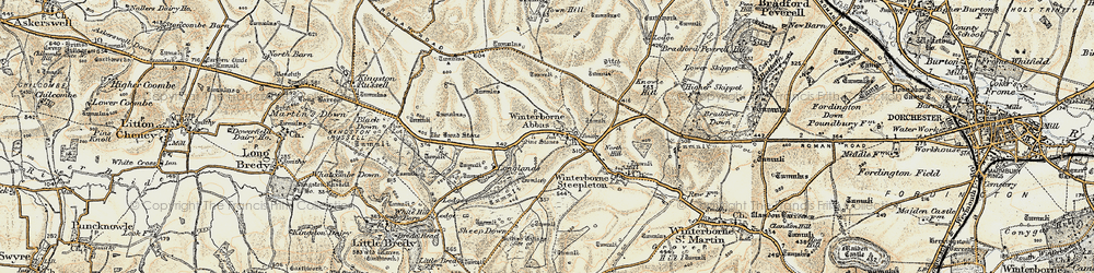 Old map of Winterbourne Abbas in 1899