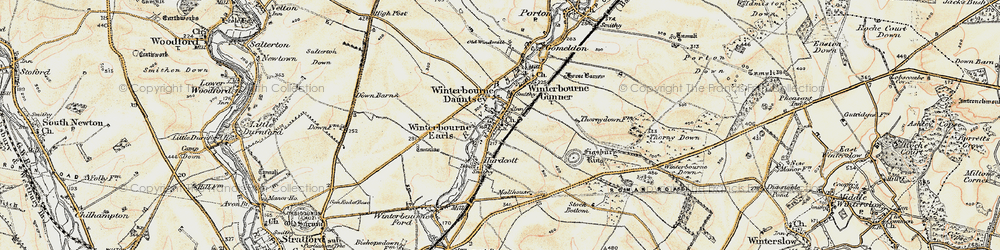 Old map of Winterbourne Dauntsey in 1897-1899