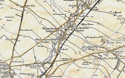 Old map of Winterbourne Earls in 1897-1899