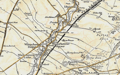 Old map of Winterbourne Gunner in 1897-1899