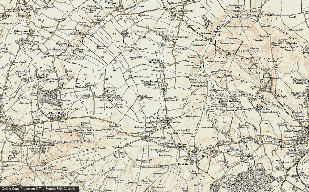 Old Map of Historic Map covering Avebury Manor in 1899