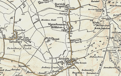 Old map of Winterbourne Monkton in 1899