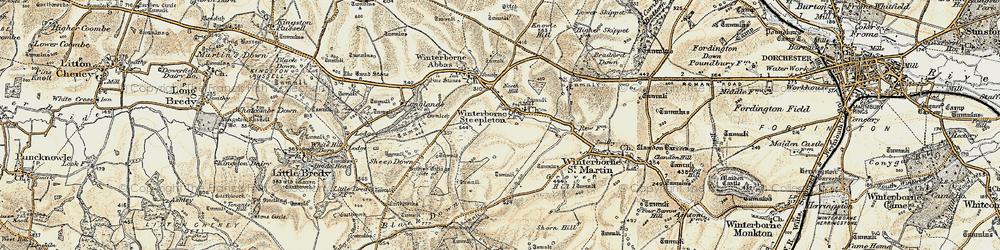 Old map of Winterbourne Steepleton in 1899