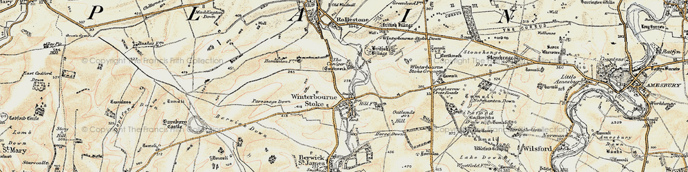 Old map of Winterbourne Stoke in 1897-1899