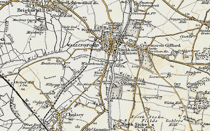Old map of Winterbrook in 1897-1898
