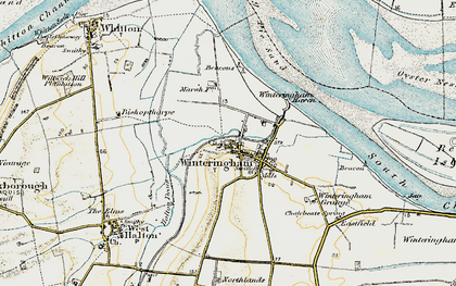 Old map of Winteringham Haven in 1903-1908