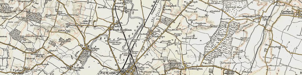 Old map of Winthorpe in 1902-1903