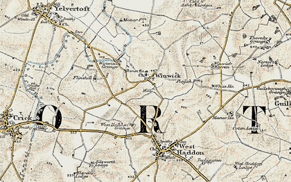 Old map of Winwick Lodge in 1901