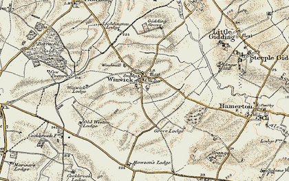 Old map of Winwick in 1901
