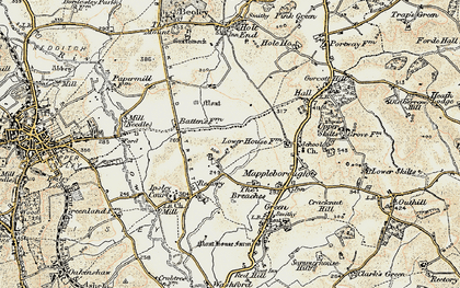 Old map of Winyates in 1901-1902