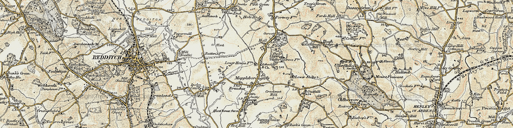 Old map of Winyates Green in 1901-1902