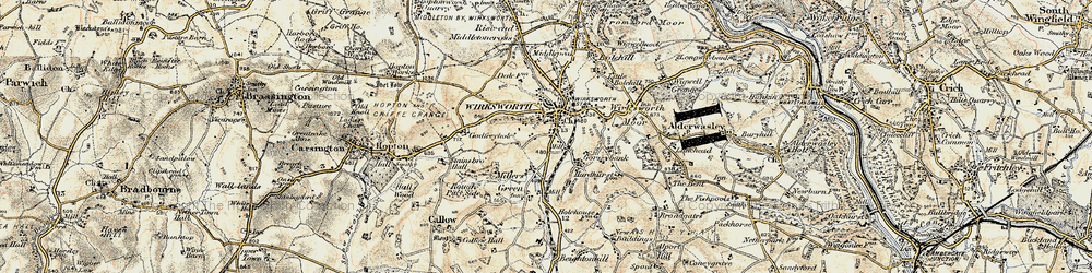 Old map of Wirksworth in 1902