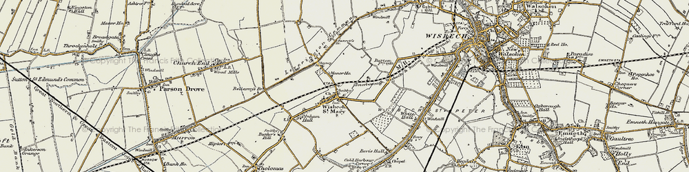 Old map of Wisbech St Mary in 1901-1902