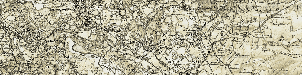 Old map of Wishaw in 1904-1905