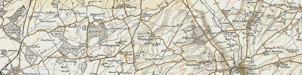 Old map of Wispington in 1902-1903