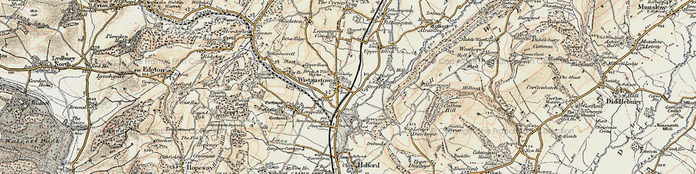Old map of Wistanstow in 1901-1903