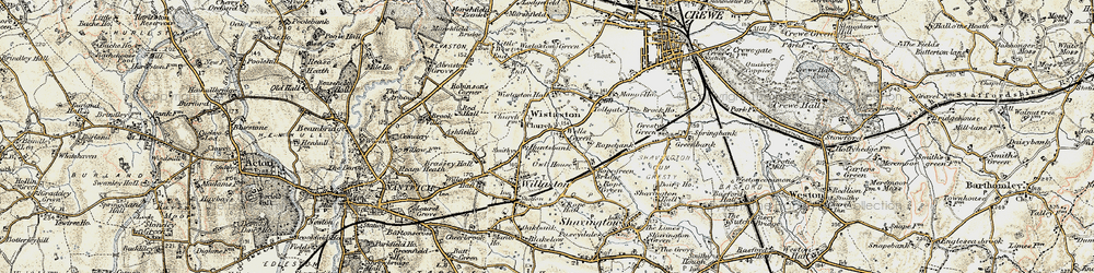 Old map of Wistaston in 1902