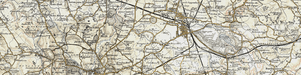 Old map of Wistaston Green in 1902-1903