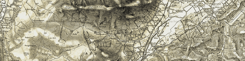 Old map of Wiston in 1904-1905