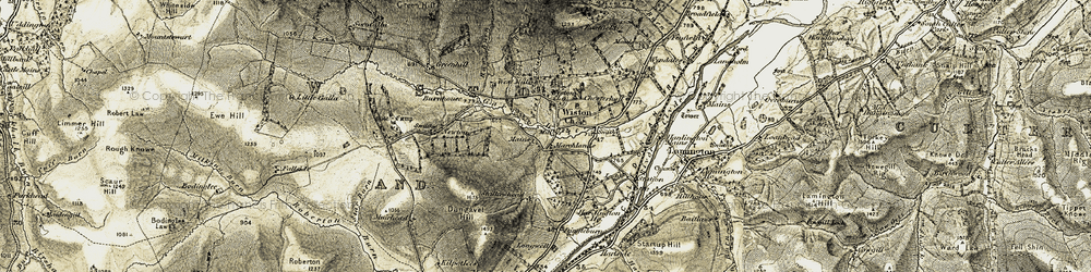 Old map of Wiston Mains in 1904-1905