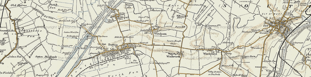 Old map of Witcham in 1901