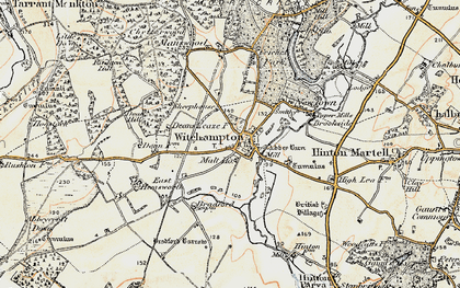 Old map of Witchampton in 1897-1909