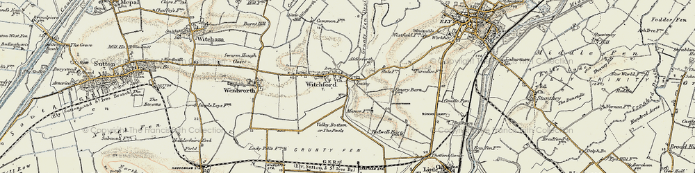 Old map of Witchford in 1901