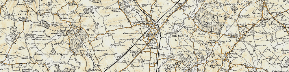 Old map of Witham in 1898-1899