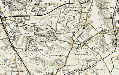 Old map of Witham on the Hill in 1901-1903