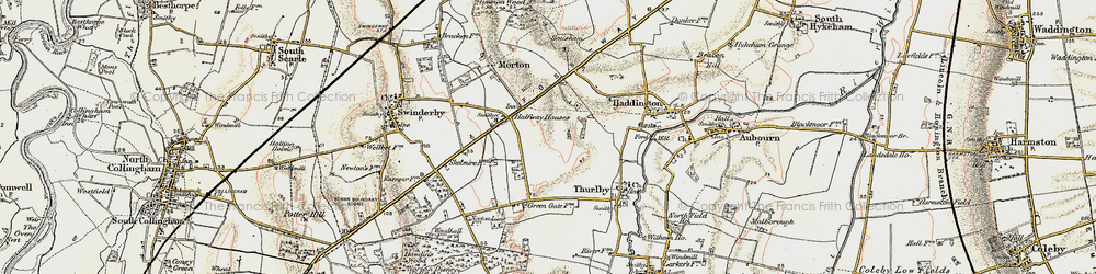 Old map of Witham St Hughs in 1902-1903