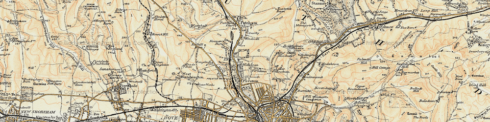 Old map of Withdean in 1898
