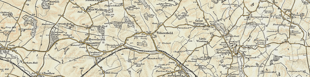 Old map of Withersfield in 1899-1901