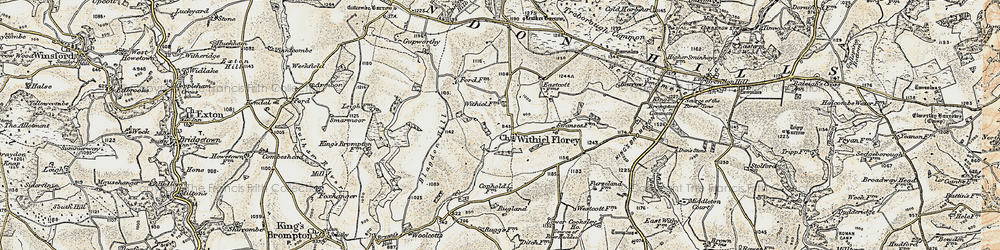 Old map of Wivelscombe Barrow in 1898-1900