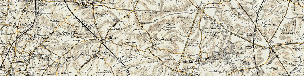 Old map of Withybrook Spinney in 1901-1902