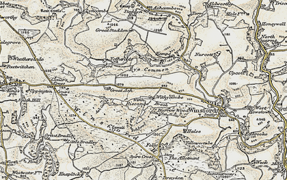 Old map of Winsford Hill in 1900