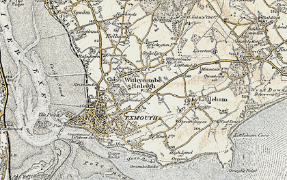 Old map of Withycombe Raleigh in 1899