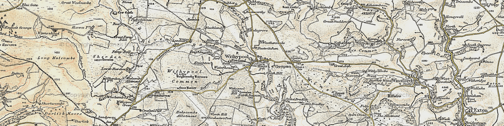 Old map of Withypool in 1900