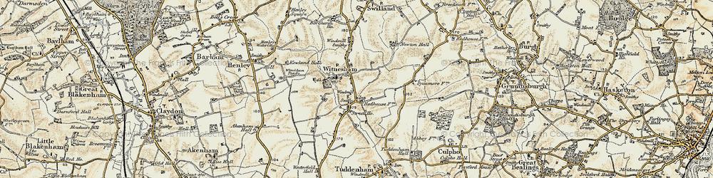 Old map of Witnesham in 1898-1901