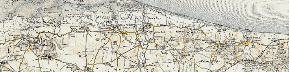 Old map of Wiveton in 1901-1902