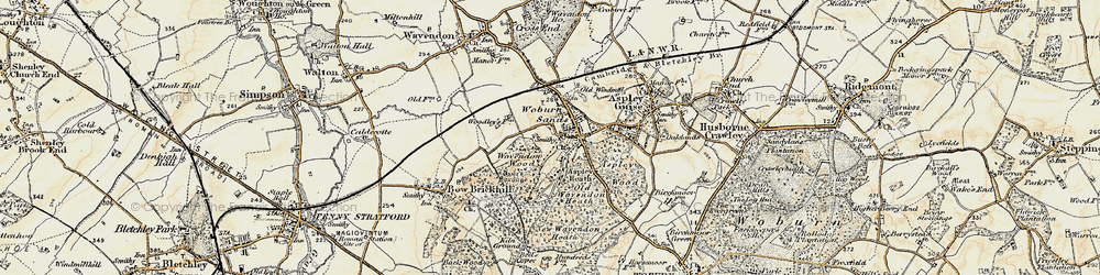Old map of Woburn Sands in 1898-1901