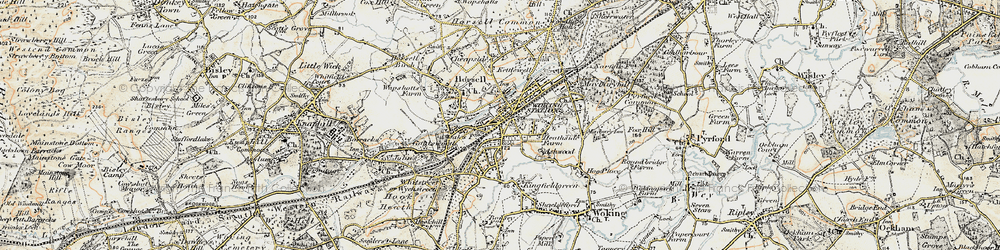Old map of Woking in 1897-1909