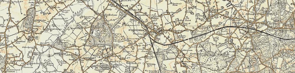 Old map of Wokingham in 1897-1909