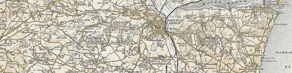 Old map of Wolborough in 1899